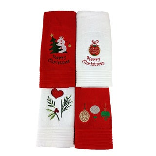 Lucia Minelli Luxury Embroidered Holiday Hand Towel (set of 4)