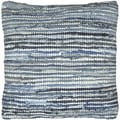Matador 18-inch Blue Leather/ Denim Throw Pillow