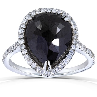 Annello 14k Gold 5 3/4 ct TDW Black and White Diamond Pear Shape Ring (H-I, I1-I2)