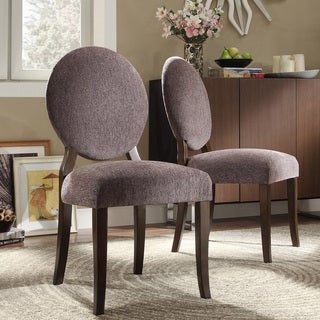 INSPIRE Q Paulina Dark Grey Chenille Round Back Dining Chair (Set of 2)