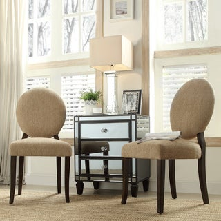 INSPIRE Q Paulina Tan Chenille Round Back Dining Chair (Set of 2)