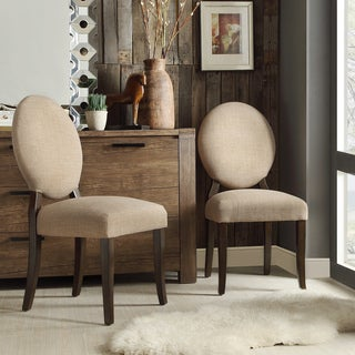 INSPIRE Q Paulina Tan Linen Round Back Dining Chair (Set of 2)