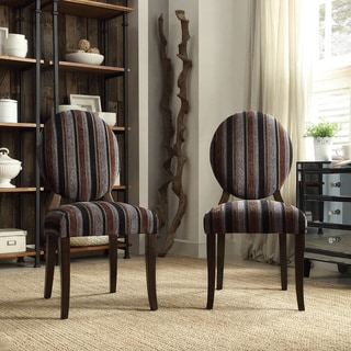 INSPIRE Q Paulina Dark Tonal Stripe Round Back Dining Chair (Set of 2)