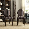 Inspire Q Zoey Coarse Stripe-style Fabric Round Back Side Chairs (Set of 2)