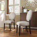 Zoey Grey Bracket Chain Fabric Round Back Side Chair (Set of 2)