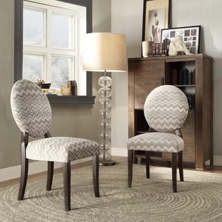 INSPIRE Q Paulina Grey Chevron Round Back Dining Chair (Set of 2)