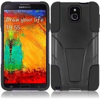 INSTEN Premium Black T-Stand Dual Layer Hybrid Stand PC Soft Silicone Phone Case Cover for Samsung Galaxy Note 3