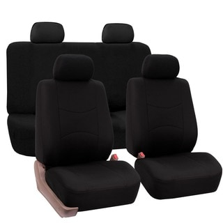 FH Group Black Car Seat Covers for Front Low Back Buckets and Solid Bench (Full Set)
