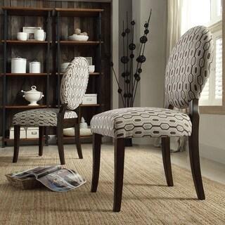 INSPIRE Q Paulina Mocha Honeycomb Round Back Dining Chair (Set of 2)