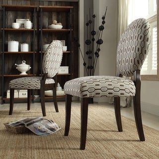 Inspire Q Zoey Chain-link Print Round Back Side Chairs (Set of 2)