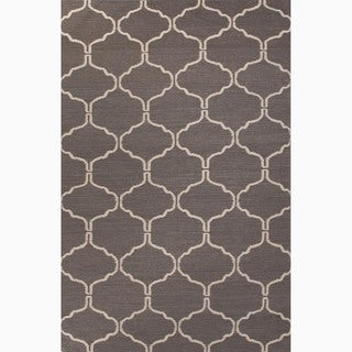 Hand-Made Moroccan Pattern Gray/ Ivory Wool Rug (3.6X5.6)