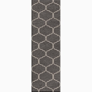 Hand-Made Moroccan Pattern Gray/ Ivory Wool Rug (2.6x8)