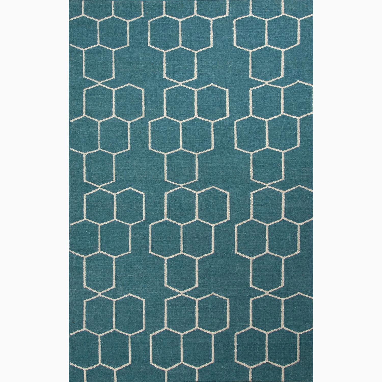Handmade Geometric Pattern Blue/ Ivory Wool Rug (9 x 12)