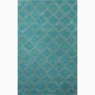 Handmade Blue/ Ivory Wool/ Art Silk Durable Rug (3'6 x 5'6)