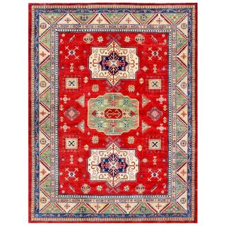 Afghan Hand-knotted Kazak Red/ Ivory Wool Rug (9' x 11'8)
