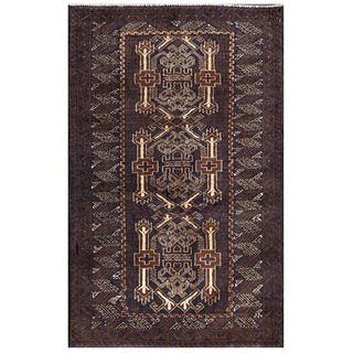 Afghan Hand-knotted Tribal Balouchi Navy/ Purple Wool Rug (2'10 x 4'7)