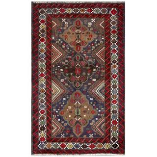 Afghan Hand-knotted Tribal Balouchi Blue/ Red Wool Rug (3' x 4'9)