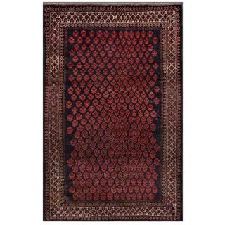 Afghan Hand-knotted Tribal Balouchi Black/ Pink Wool Rug (3'2 x 4'10)
