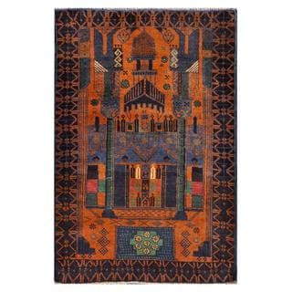 Afghan Hand-knotted Tribal Balouchi Navy/ Gold Wool Rug (2'10 x 4'4)