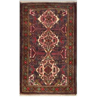 Afghan Hand-knotted Tribal Balouchi Purple/ Red Wool Rug (2'10 x 4'8)