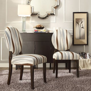 INSPIRE Q Paulina Vertical Wavy Stripe Round Back Dining Chair (Set of 2)