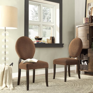 INSPIRE Q Paulina Chocolate Chenille Round Back Dining Chair (Set of 2)