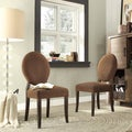 Inspire Q Zoey Chocolate Chenille Round Back Side Chair (Set of 2)