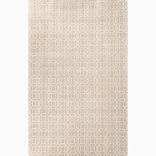 Hand-Made Geometric Pattern Taupe/ Ivory Wool/ Art Silk Rug (9.6x13.6)