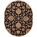 Hand-Made Black/ Tan Wool Easy Care Rug (8x10 Oval)