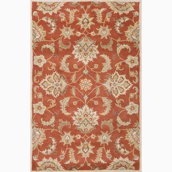 Handmade Red/ Gray Wool Easy Care Rug (4 x 6)