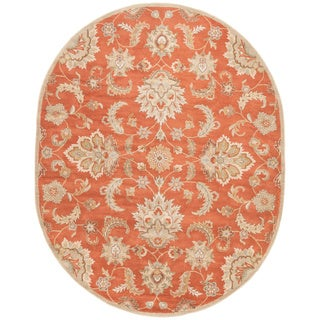 Hand-Made Red/ Gray Wool Easy Care Rug (8x10 Oval)