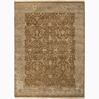 Hand-Made Oriental Pattern Brown/ Gray Wool Rug (10x14)
