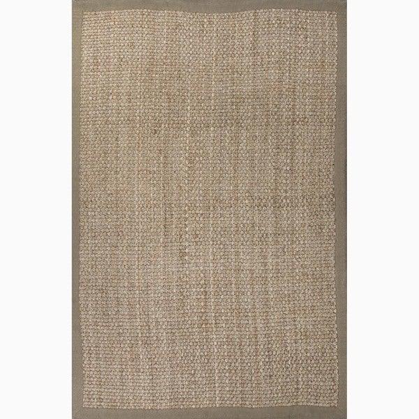 Hand-Made Taupe/ Tan Jute Natural Rug (4X6)