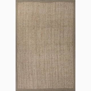 Hand-Made Taupe/ Tan Jute Natural Rug (4X6)