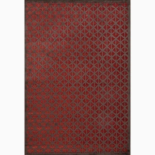 Handmade Modern Red/ Brown Art-silk/ Chenille Area Rug (9' x 12')