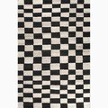 Hand-Made Black/ Ivory Wool Easy Care Rug (9x12)