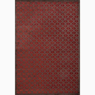 Handmade Red/ Brown Art Silk/ Chenille Modern Rug (7'6 x 9'6)