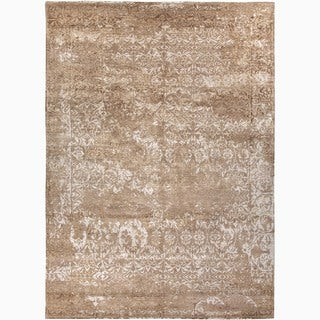 Hand-Made Abstract Pattern Taupe/ Ivory Wool/ Bamboo Silk Rug (8x10)