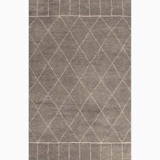 Handmade Moroccan Pattern Gray/ Ivory Wool Rug (9 x 12)