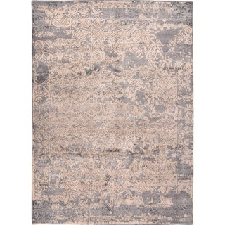 Handmade Abstract Pattern Taupe/ Gray Wool/ Bamboo Silk Rug (8 x 10)