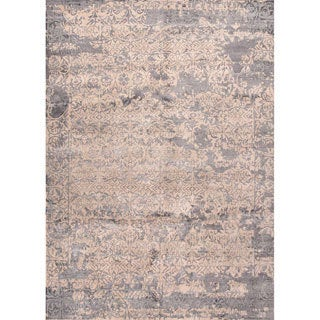Handmade Abstract Pattern Taupe/ Gray Wool/ Bamboo Silk Rug (9 x 12)