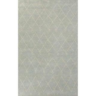 Handmade Moroccan Pattern Blue/ Ivory Wool Rug (5 x 8)