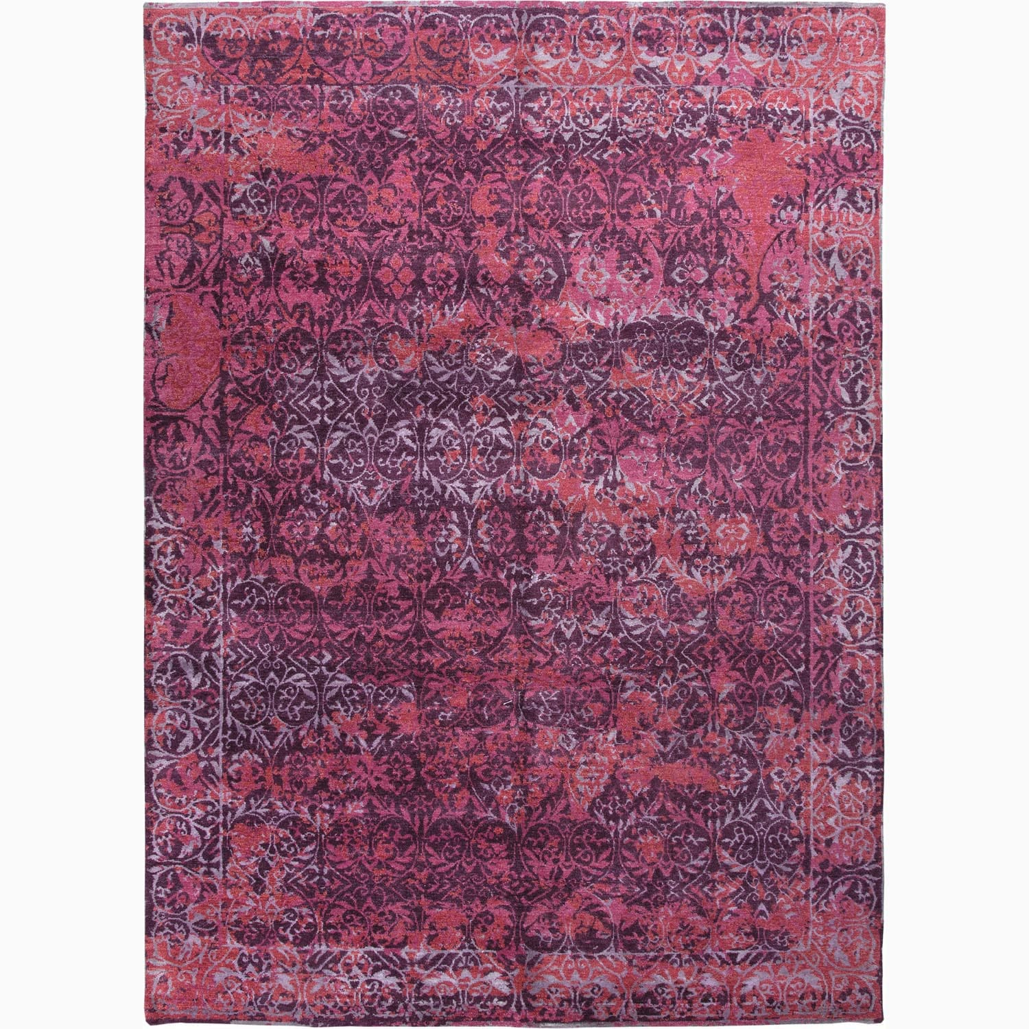 Handmade Abstract Pattern Purple/ Pink Wool/ Bamboo Silk Rug (9 x 12)