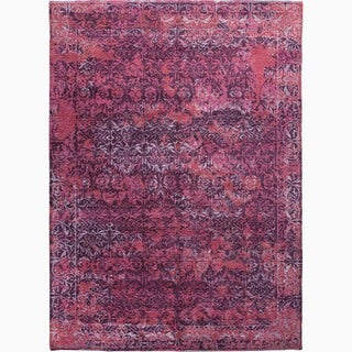 Hand-Made Abstract Pattern Purple/ Pink Wool/ Bamboo Silk Rug (10x14)