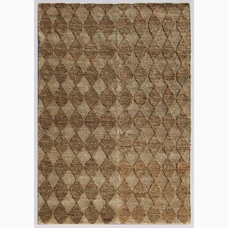 Handmade Taupe/ Ivory Hemp Eco-friendly Rug (8 x 10)