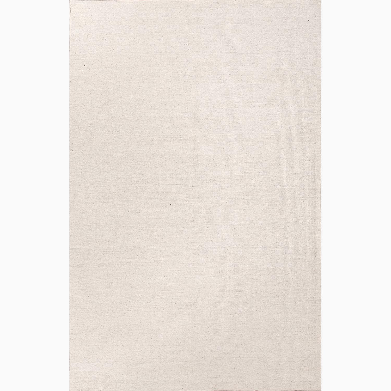 Handmade Solid Pattern Ivory/ White Wool Rug (5 x 8)