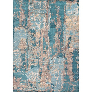 Handmade Abstract Pattern Blue/ Tan Wool Rug (8 x 10)
