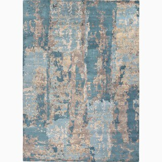 Hand-Made Abstract Pattern Blue/ Tan Wool Rug (9x12)