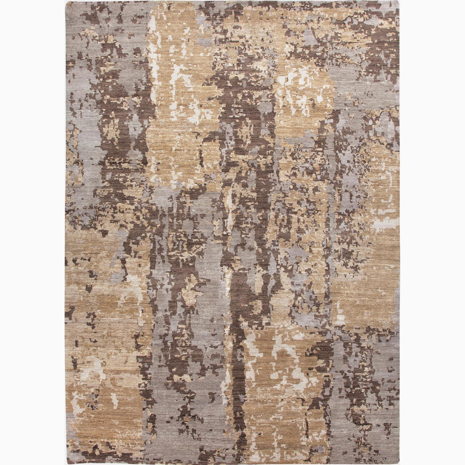 Handmade Abstract Pattern Taupe/ Gray Wool Rug (9 x 12)