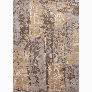 Hand-Made Abstract Pattern Taupe/ Gray Wool Rug (10x14)